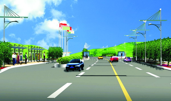 4 景观节点区:景观节点是整条道路景观设计的重点,故所配置植物都需